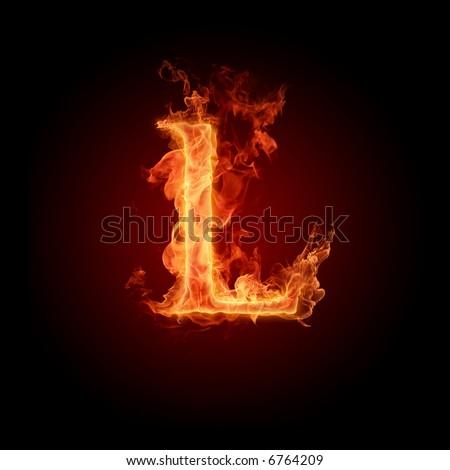 Fiery font. Letter L - stock photo
