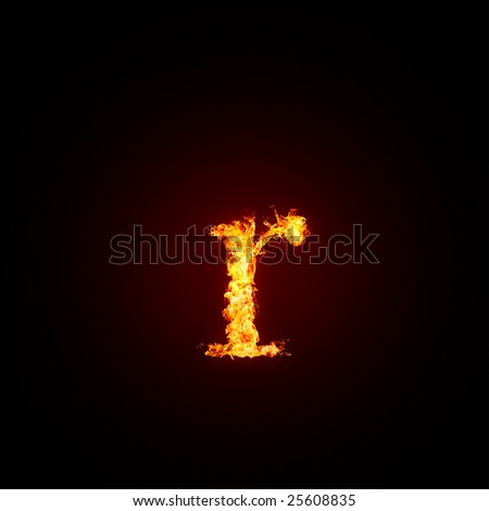 Fiery font. Letter r,  small - stock photo