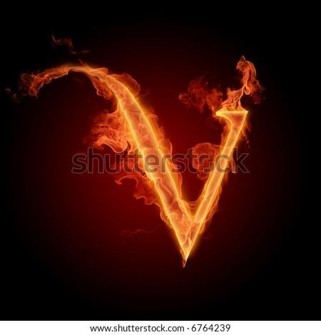 Fiery font. Letter V - stock photo
