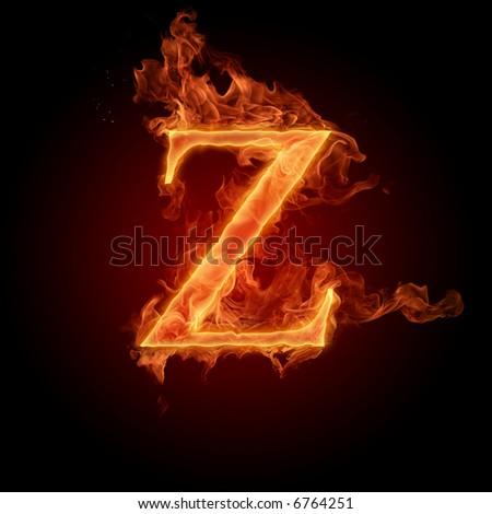 Fiery font. Letter Z - stock photo