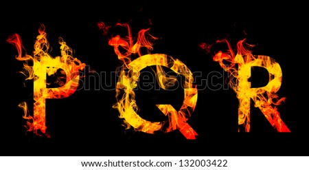 Fiery font. Letters P Q R - stock photo