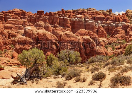 Fiery Furnace Red Orange Hoodoos Rock Canyon Arches National Park Moab Utah USA Southwest. - stock photo