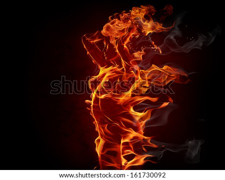 Fiery girl - stock photo