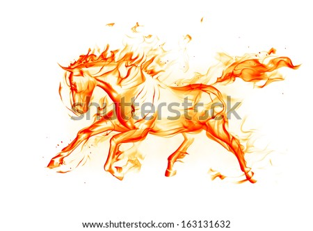 Fiery horse on white background - stock photo