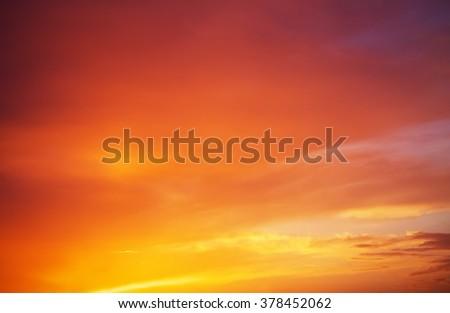 Fiery orange colorful sunset sky. Beautiful sky. - stock photo