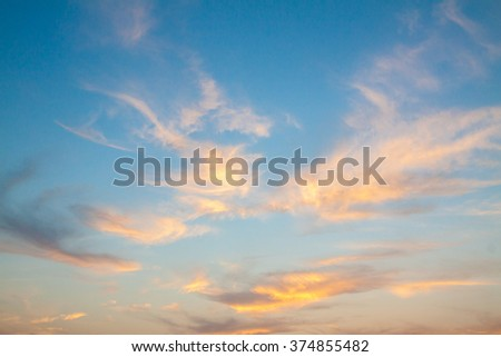 Fiery orange sunset sky. Beautiful sky. soft focus - stock photo