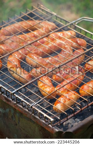Fiery sausages on grill, barbecue picnic