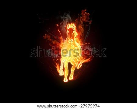 Fiery stallion. Horse - stock photo