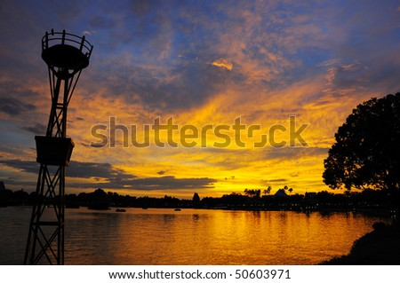 Fiery Sunset at the Lake Buena Vista - stock photo