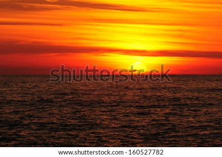 Fiery sunset over the Black Sea