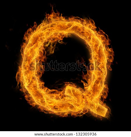 Fiery uppercase letter Q