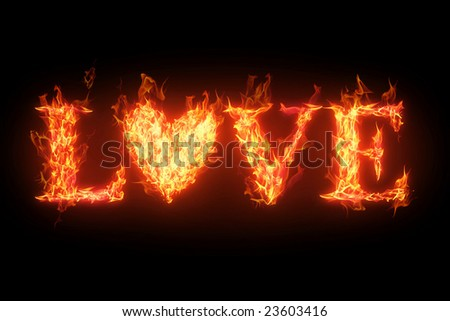 fiery word Love isolated over black