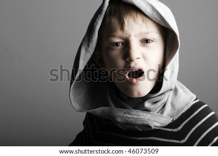 fiesty agressive little hoodie boy