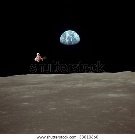 "Fifi the Bichon Frise takes a trip into outerspace in her Rocket Car in a ""NASA Outerspace"" photo with the Moon and Earth as the background image.