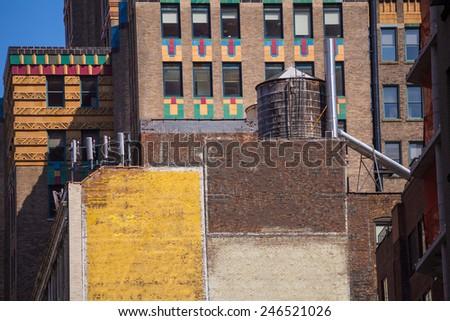 Fifth avenue aged brick wall 5 th Av New York Manhattan USA - stock photo