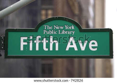 Fifth avenue sign at the new york central library, manhattan, new york, America, usa - stock photo