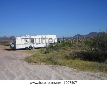 fifth wheel traveling trailer in san carlos mexico - stock photo