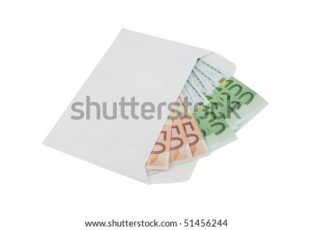 Fifty and one hundred euro banknotes in an envelope isolated on a white background - stock photo