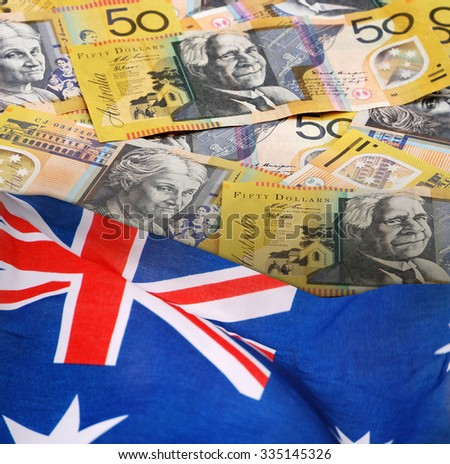 Fifty Australian Dollars Banknotes with Australian Flag. - stock photo