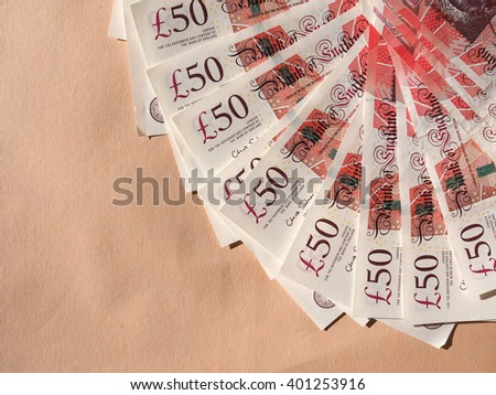 Fifty British Pound banknotes currency of the United Kingdom - stock photo