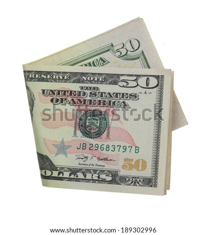 Fifty dollar bill isolated on white - stock photo