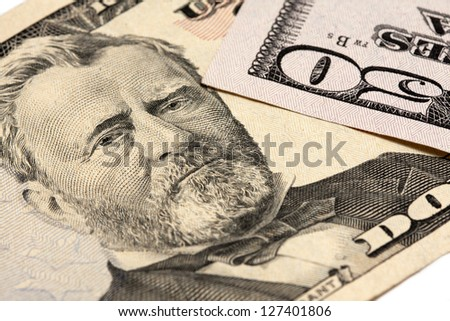 fifty dollar close-up. a money conceptual image - stock photo