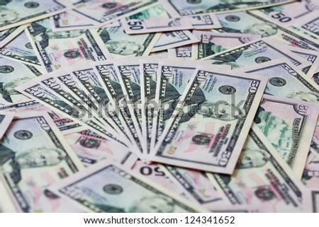 Fifty dollars  banknotes background. Shallow depth of field - stock photo