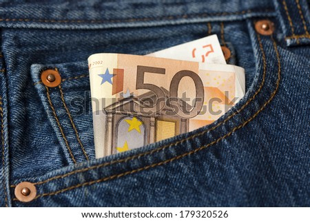 Fifty Euro banknote in the pocket - stock photo
