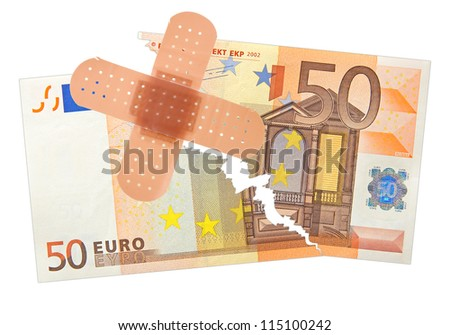 fifty euro banknote taped with a patch - stock photo