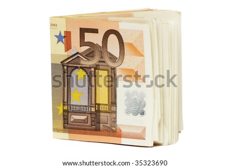 Fifty Euro banknotes folded in half, isolated on white