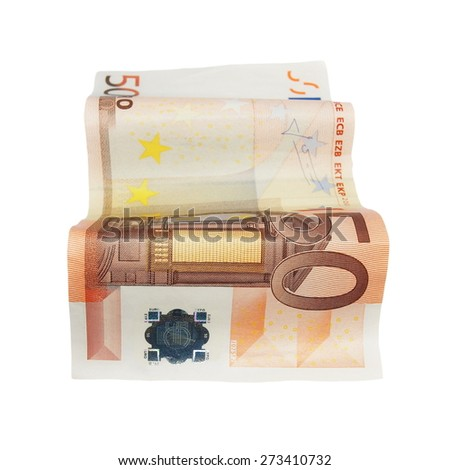 fifty euro banknotes isolated on a white - stock photo