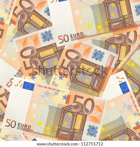 fifty euro banknotes mixed jumbled