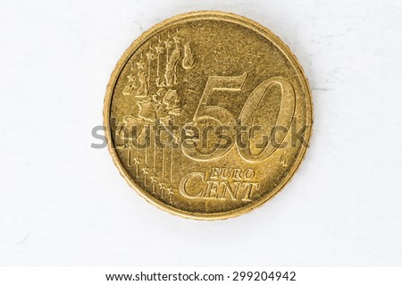 fifty Euro cent Coin with europe frontside used look - stock photo