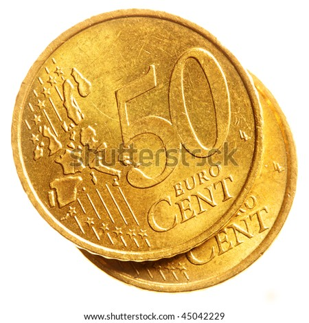 Fifty euro cent coins isolated over white background - stock photo