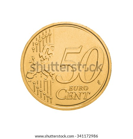 fifty euro cents coin isolated on white background - stock photo