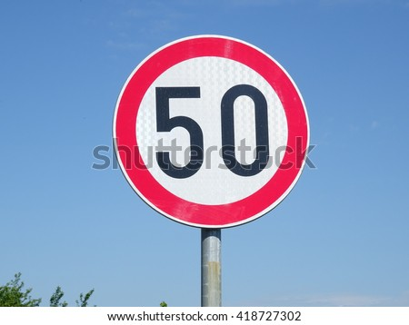 Fifty Kilometers Speed Restriction Sign