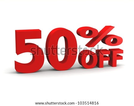 fifty percent off in red 3d letters