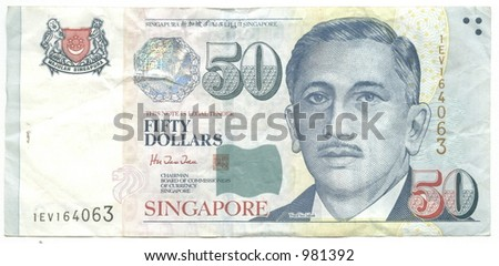 fifty singapore dollars - stock photo