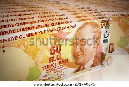 Fifty Turkish lira Stacks depth of field (close-up) - stock photo