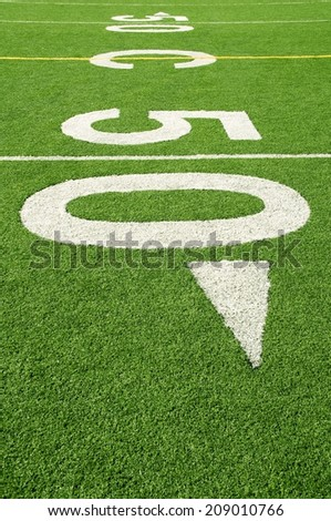 Fifty-yard line of American football field