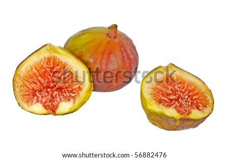 Fig and sections isolated on white background