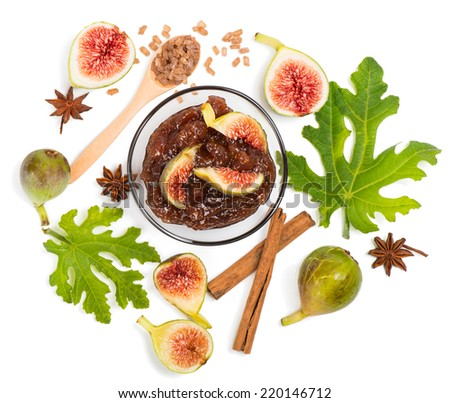 Fig jam and the ingredients ( fig, anise, sugar, cinnamon),  isolated on white, top view. - stock photo