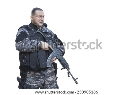 "Fight against terrorism, Special Forces soldier, with Czech assault rifle ""sa.vz.58"", police swat, isolated on white - stock photo"