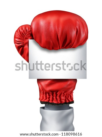 Fight and competition sign with an isolated red boxing glove holding a blank white card as a business symbol of competitive sales or boxing day specials after holidays isolated on white. - stock photo