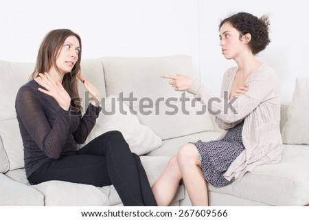 Fight between girlfriends - stock photo