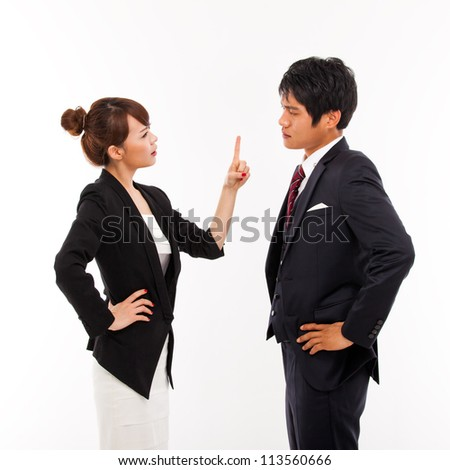 Fight business couple isolated on white background. - stock photo