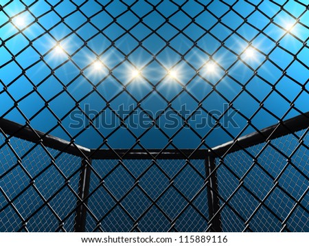 Fight cage , 3d illustration - stock photo