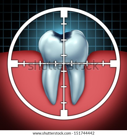 Fight cavities as a tooth cavity symbol with a target icon aiming at the oral disease as a health care concept for bone anatomy as a cure and dentist therapy for decay and rotting due to bacteria. - stock photo