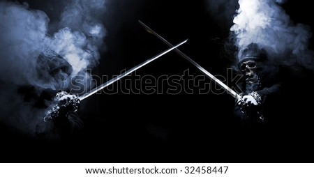 fight of mystical  smoky creatures - stock photo