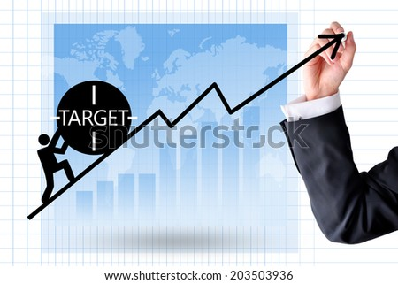 Fight to achieve company target - stock photo